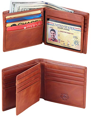 Stealth Mode Leather Bifold Wallet for Men With ID Window and RFID Blocking (Light Brown)