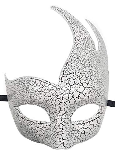 Biruil Men's Masquerade Mask Venetian Muscial Mardi Gras Ball Fancy Costume Party Eyemask (B Crack White) ()