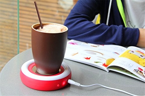 photo Wallpaper of Surborder Shop-Surborder Shop Coffee Mug Warmer Desktop USB Electronics Heat Cup Warmer Pad Plate-Red
