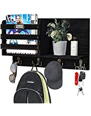 Greenstell Key Holder/Mail Sorter Organizer, Mail Holder Wall Mounted with Hooks and Storage, Decorative Floating Shelf for Magazine, Letter & Newspaper Storage for Entryway, Hallway, Office, Mudroom