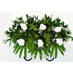 White rose cemetery saddle~Cemetery Arrangement~Graveside Decorations~Headstone Saddle~Saddle Arrangement~Sympathy Flowers~Grave decor~Cemetery Flower Service Subscription~cemetery saddle 6