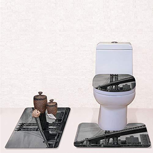 Comfort Flannel 3 Pcs Bath Rug Set,Contour Mat Toilet Seat Cover,Bridge of NYC Vintage East Hudson River Image USA Travel Top Place City Photo Art Print with Grey,Decorate Bathroom,Entrance Door,kitc