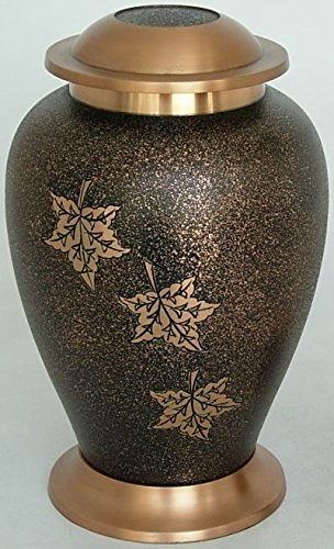 ADULT BRASS FALLING LEAVES FUNERAL CREMATION URN, BEAUTIFUL URNS by NWA