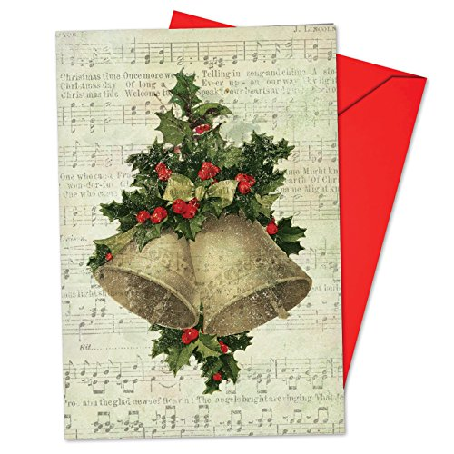 Vintage Style Christmas Card - B6650HXSG Box Set of 12 Holly Notes Christmas Greeting Card Featuring Festive Holiday Foliage Atop Vintage Style Christmas Carol Song Sheets; with Envelopes