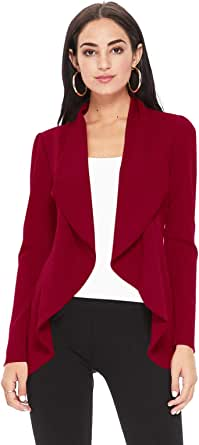 FashionJOA Women's Solid Print Casual Long Sleeves Stretch Open Front Blazer Jacket/Made in USA