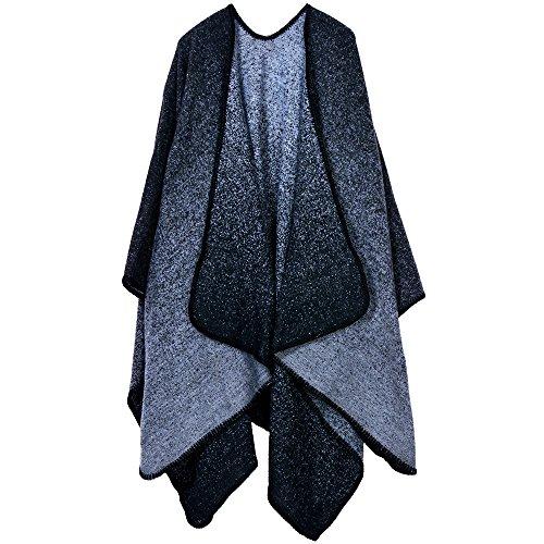(iSuperb Women's Winter Poncho Cape Shawl Coat Cardigans Fleece Blanket (Gradient)