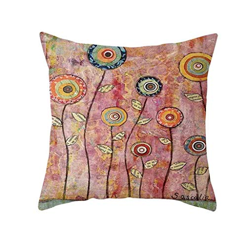 (❤SU&YU❤Natural Pattern Printing Dyeing Sofa Bed Home Decor Pillow Cover Cushion Cover (L))