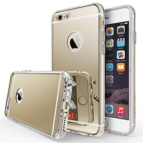 r] Compatible with Apple iPhone 6S Case Bright Reflection Radiant Luxury Mirror Case [Drop Protection, Shock Absorption Technology] Attached Dust Cap for iPhone 6 - Royal Gold ()