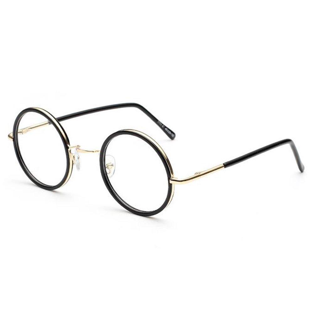 Hibote Männer Frauen Gläser - Klare Linse Brillengestell - Runde Brillen + Brillenetui kostenlos 122814 X171228YJJ1401-X