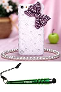 FoxyCase(TM) FREE stylus AND APPLE iPod touch (5th generation) Purple Bow Pearl 3D Full Diamond Bling Back Protector Cover cas couverture