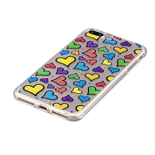 iPhone 8 Plus Hülle,Farbe liebt Premium Handy Tasche Schutz Transparent Schale Für Apple iPhone 8 Plus + Zwei Geschenk