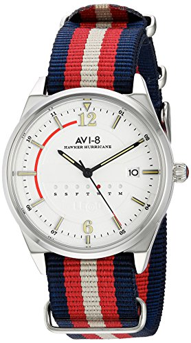 AVI-8 Men's 'Hawker Hurricane' Quartz Stainless Steel and Nylon Aviator Watch, Color:Two Tone (Model: AV-4044-01)