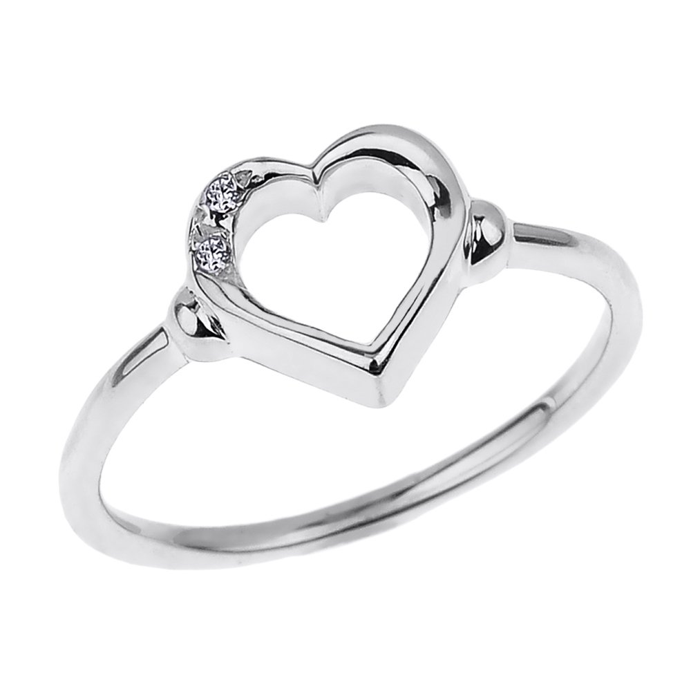 Fine 10k White Gold Dainty Band 2-Stone Diamond Open Heart Ring (Size 5)