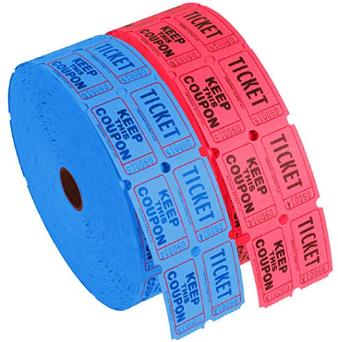 Raffle Roll Tickets - Kangaroo's Double Raffle Ticket Roll (2-Pack), 4000 Red & Blue Raffle Tickets, 2000 Tickets Per Tickets Roll