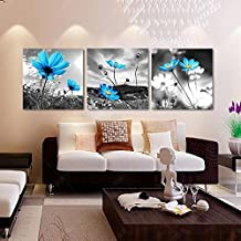 Grey Art-3 Pics Blue flowers Print Picture Wall Art Modern Canvas Decor Prints Decoration on Living Room and Bedroom Gallery Stretched and Framed Ready to Hang