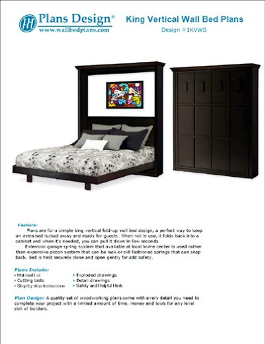 King Vertical Murphy Wall Bed Woodworking Plans Instructions