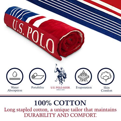 "U.S. Polo Assn. Oversized (40"" x 70"") Striped Nautical Design Beach Towel - Luxury Plush Cotton Hotel Quality for Bath, Pool - West Coast Stripe"