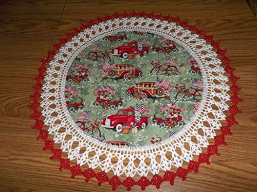 (Patriotic Doily Red Truck and Flags 4th of July Table Topper Round Lace Table Decoration Fabric Center Doily Crocheted Edge 20 Inches Centerpiece)