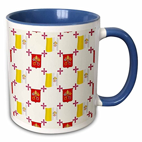 3dRose 777images Country Patterns - The flag and Coat of Arms of the Vatican City State on a light creme background - 15oz Two-Tone Blue Mug (mug_114180_11)