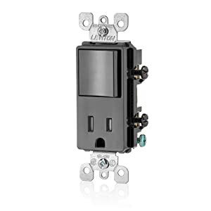 Leviton T5625-E Decora Combination Switch and Tamper-Resistant Receptacle, Black