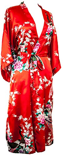 CC Collections Kimono 16 Colours Premium Version Free 1st Class UK Shipping Dressing Gown Robe Lingerie Night wear Dress Bridesmaid Hen Night (Red ()