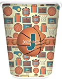 RNK Shops Basketball Waste Basket - Single Sided (White) (Personalized)