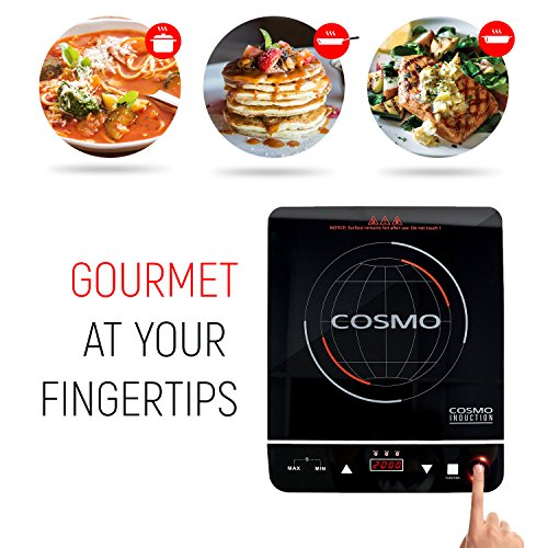 Cosmo Portable Electric Induction Cooktop with Rapid Heating, Sensor LED Display, Safety Lock, Energy Efficient Countertop Stove Single Burner, 1800-Watt, COS-YLIC1 by Cosmo (Image #3)