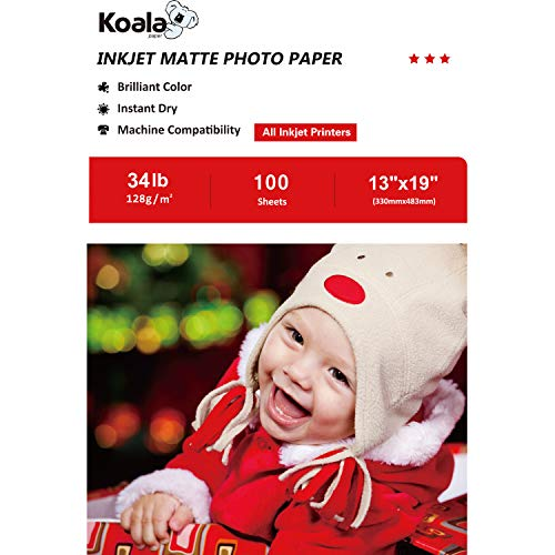- Koala Photo Paper 13x19 Inches Matte Photo Paper 100 Sheets 128gsm Compatible with All Inkjet Printer