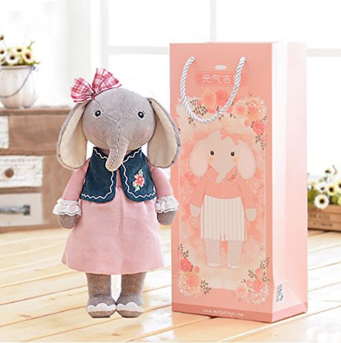Me Too Stuffed Elephant Dolls Navy Floral Dress 12'' + Gift Bag … by Me Too