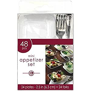 Amscan Mini Appetizer Party Set Perfect Tableware and Cutleries (48 Piece), White/Clear