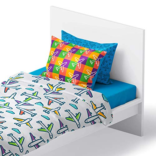 Chital 4Pc Twin Linen Sheet Set - Cute Airplane Print - Flat & Fitted Sheets 2 Pillowcases Kids Girl Boy & Teen - Supper Soft Microfiber- Fits Bed Size: 39 x 75 x 15 Inches Deep