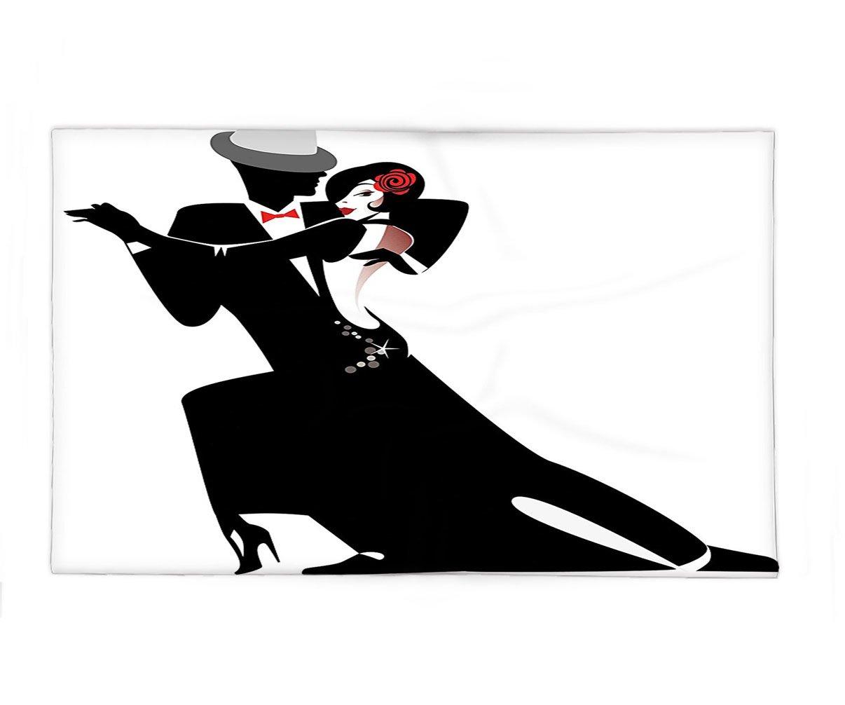 Interestlee Fleece Throw Blanket Girls Decor Man and Woman Partners Romantic Dance Tango Waltz Lovers in Rhythmic Music Art Print Black White