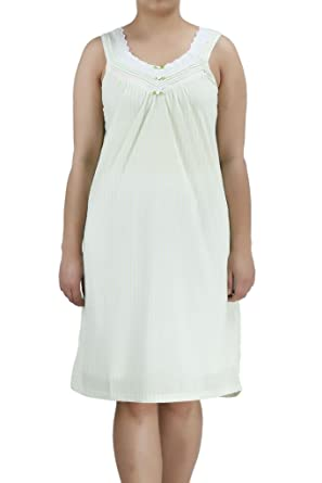 e724194a0f Image Unavailable. Image not available for. Color  Ezi Women s Lacegown1 Sleeveless  Cotton Striped Nightgown