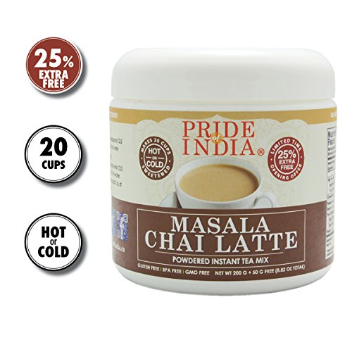 Pride Of India - Masala Chai Latte - Powdered Instant Tea Premix, 8.82oz (250gm) Jar - Makes 20-25 Cups - Amazing Flavor, Hold or Iced, Very Low Caffeine, Ready in seconds, Great for Gifting & Parties (Best Loose Powder In India)