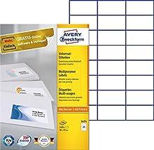 Avery - Etiquetas imprimibles (70 x 37 mm, para impresión A4), 2400 unidades, color blanco