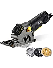 """Circular Saw, TECCPO 3-1/3"""" 3500RPM Compact Circular Saw with Laser Guide, 3 Saw Blades, Scale Ruler and 4Amp Pure Copper Motor, Suitable for Wood, Tile, Aluminum and Plastic Cuts - TAPS22P"""