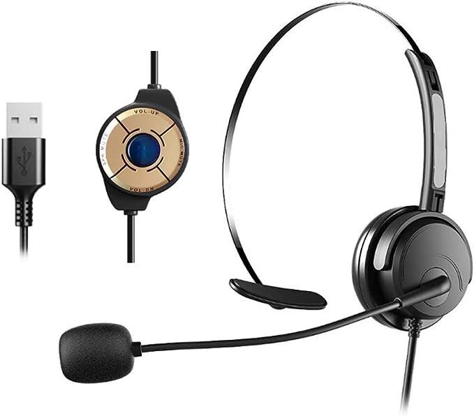 Auriculares de ordenador, auriculares USB con micrófono Cancelación de ruido y controles de audio, auriculares de PC para negocios UC Skype Lync ...