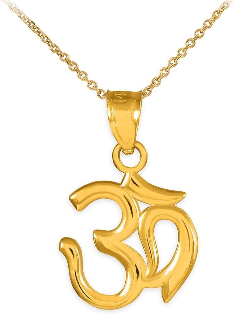 Amazon.com: 14K Gold Hindu Meditation Charm Yoga Om (Aum ...
