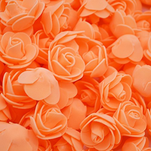 Aosreng 100Pcs/Lot 3Cm Mini PE Foam Roses Artificial Flower Heads for Home Garden Decorative Wreath Supplies Wedding DIY Decoration F09 Orange from Aosreng