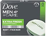 Dove Men+Care Body and Face Bar, Extra Fresh 4 Ounce, 8 Bar For Sale