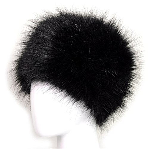 Style Black Hat (Dikoaina Faux Fur Cossack Russian Style Hat for Ladies Winter Hats for Women, Medium,  Black)