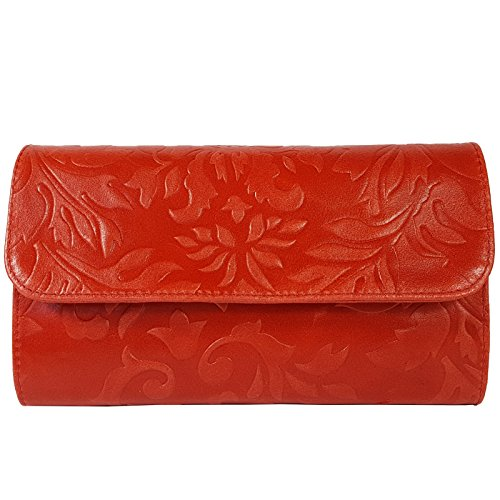 Freyday femme Rot Italy in pour Blumen Pochette Made qqpCwF7