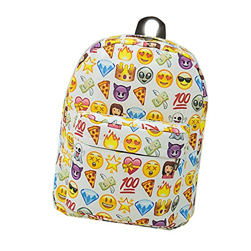 Bolso de hombro del muchacho de la muchacha, bolsos de escuela del morral de la cremallera Emoji por Morwind (rojo) Blanco
