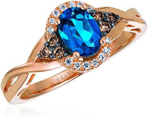 LeVian 0.70 Carat Oval Cut Blueberry Topaz 14K Rose Gold Ring