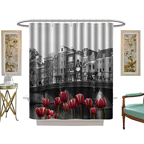 luvoluxhome Shower Curtain Collection by Black and White Image of an Amsterdam Canal with red Tulips W72 x L84 Custom Made Shower ()