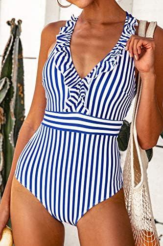 CUPSHE Women's V Neck One Piece Swimsuit Ruffled Back Cross Swimwear