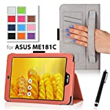onWay ASUS MeMO Pad 8 ME181C Case - Slim Folding Protective Cover Case for ASUS MeMO Pad 8 ME181C 8.0 Inch Tablet + Free stylus pen (With Smart Cover Auto Wake/Sleep, Elastic Hand Strap, Multi-Angle, Card Holder) (For ASUS MeMO Pad 8 ME181C, Orange)