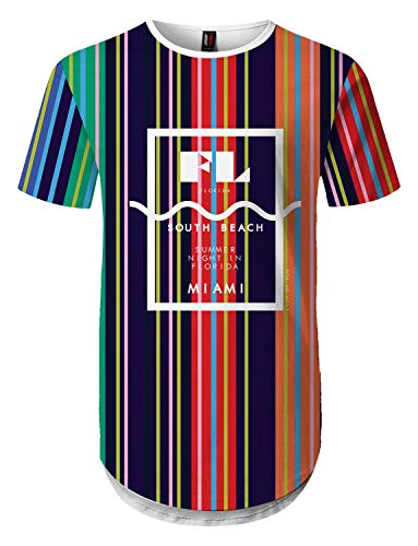 UrbanMax Mens Streetwear Hip Hop Hipster Stripe Color Block Printed Longline T-Shirts(2XL, SP004) ()