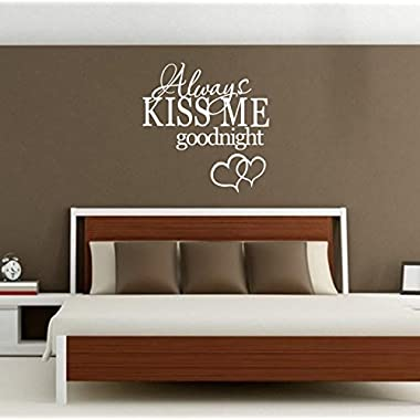 Always Kiss Me Goodnight Bedroom Wall Decal for Nursery Decoration White Quote Wall Stickers