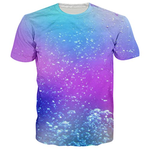 RAISEVERN Unisex Galaxy Water Bubble Round Neck Novelty Tee Shirts Clothes